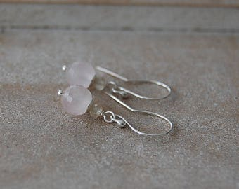 925 silver earrings with facetted rose quartz and citrine