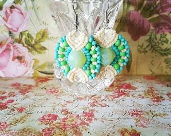 Mermaid Lagoon Earrings   Macrame Earrings   Beach Earrings   Summer Earrings