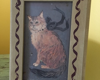 Folk Art Cat Painting with Wood Frame