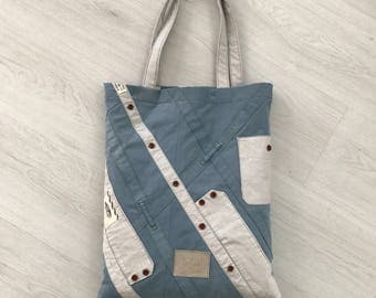 Light blue recycled cotton tote bag, upcycled VANS shirt and trouser tote bag, unisex
