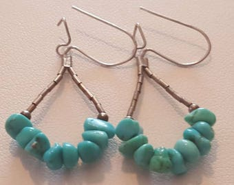 Turquoise Nugget Sterling silver Earrings