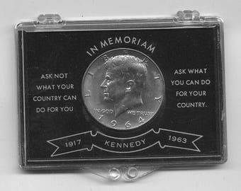 "1964 John F. Kennedy ""In Memoriam"" Silver Half Dollar in Original Case"