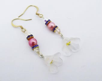 Swarovski Crystal and freshwater pearl Cherry Blossom Earrings