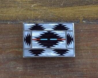 Vintage Zuni Multi-Stone Inlay Sterling Silver Belt Buckle