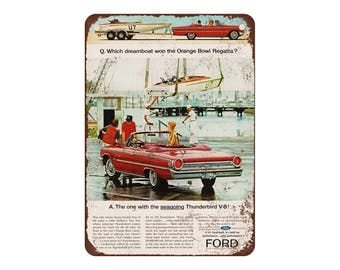 "1963 Ford Galaxie 500 Sunliner - Vintage Look Reproduction 9"" X 12"" Metal Sign"