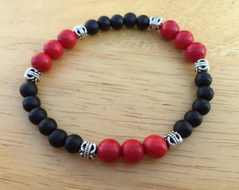 Black Glass, Red Stone & Silver Accent Stretch Bracelet
