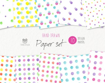 Watercolor polka dots digital paper, seamless pattern, colorful dots, hand drawn,wrapping paper,printable, Instant download