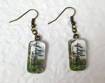 Pine Tree Glass Rectangle Earrings Dangle Earrings Nature Jewelry Photo Jewelry Tree Jewelry