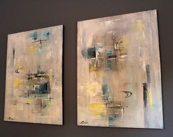 Contemporary abstract with a mid-century twist
