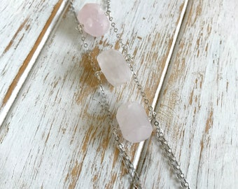 Rose Quartz Necklace | January Birthstone Jewelry | Raw Stone Nugget Necklace | Long Silver Necklace | Chunky Stone Necklace | Raw Quartz