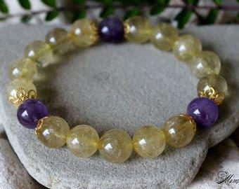 Gold Rutile Quartz Bracelet, 12mm Gold Rutile Quartz Bracelet, Amethyst Bracelet, Venus Hair Stone Bracelet, Gold Rutilated Quartz Bracelet