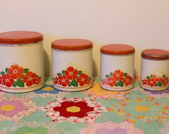 Vintage Red Floral Decoware Nesting Tin Canisters from the 1950's - Set of 4