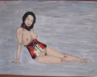 """female nude acrylic painting signed """"Japan"""" G.Vanspey A3 drawing"""