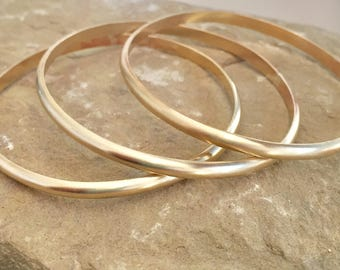 Brass bangle bracelets, half round bangle bracelet, stackable brass bracelets, brass bracelets, bangles, gift for her, gift for wife