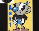 Mugman - 8x10 Black Matted Print - video Game - Anime - Fandom - Art