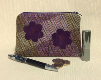Welsh tweed zipped coin purse/change purse in heather colours with purple suede appliqued flowers
