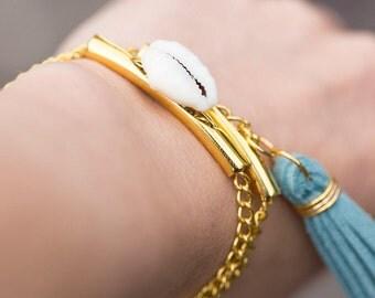 Cauris Shell chaîne Bracelet moderne minimaliste chaîne en or sea shell amitié nautique bijoux bracelet de plage minimal chic