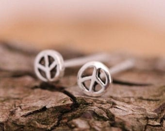 Small Single or Paired Sterling Silver Open Peace Sign Studs Unisex Earrings For Everyday Birthday Gift Comes With Box