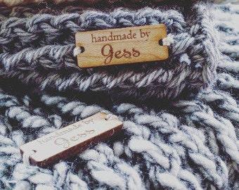 25 Custom tag, Logo Tag, Tag, Wood custom tag, Personalized Tag, Wood tag, Engraved tag, Knitting Tag, Laser Tag, Solid wood Tag