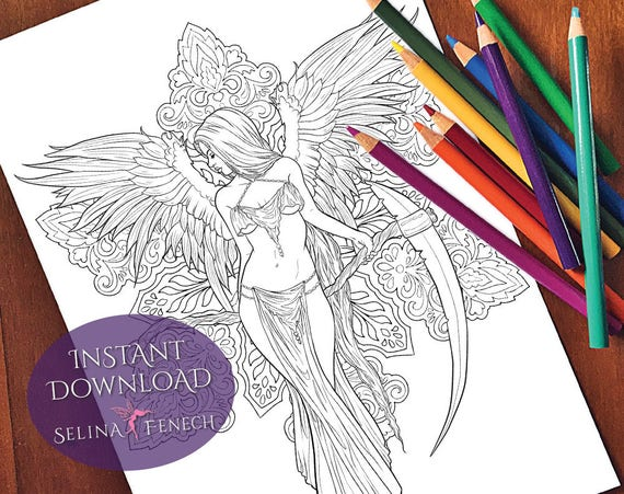 Gothic reaper dark angel coloring page digi stamp fantasy for Dark angel coloring pages