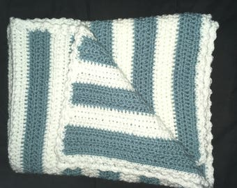 Blue & White striped Baby Blanket