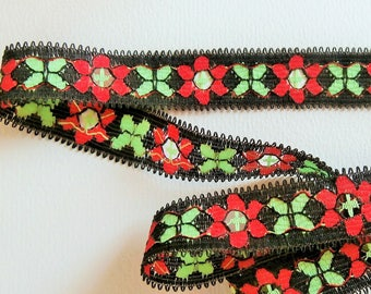 Black, red and green floral stripe (ref 842 30 05)