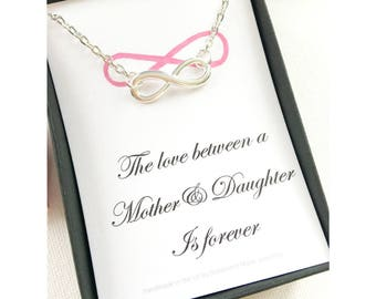 Infinity necklace, Gift for daughter, Gift for mother, infinity symbol necklace, message card necklace, birthday gift MCJSFINFI3