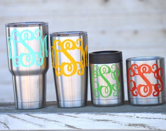 Monogram Decal - glitter rtic decal - Yeti decal glitter - glitter monogram - yeti decal for women - ozark tumbler decals