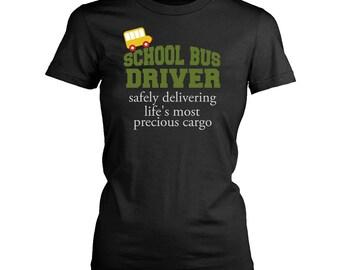 School Bus driver womens fit T-Shirt. Funny School Bus driver shirt.
