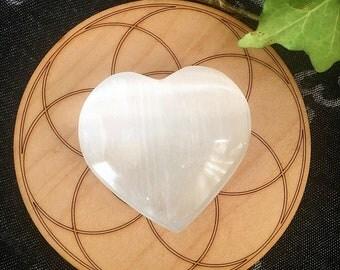 Selenite heart/ puffy selenite heart/ crystal heart