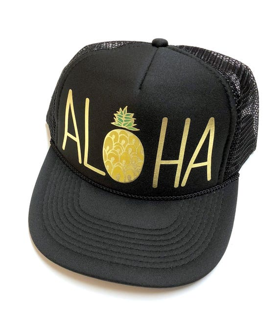 WC Aloha Pineapple Trucker Hat| Aloha Hat| Trucker Hat| Pineapple|Trucker Hat| Hawaii Hat| Beach Hat|watercolor | Gold Vinyl