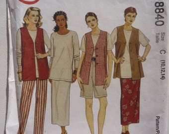 McCall's Sewing Pattern for Women 8840 Size 10 12 14 Vest Top Pants Shorts Skirt 3 Hour Separates 90s Fashion UnCut Original Paper Pattern