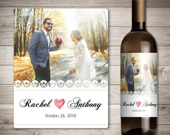 Photo Wedding Wine Label - Custom Wine Label - Personalized Wine Label - Wedding Wine Bottle Label-Wedding Decoration Wine-Custom Photo Wine