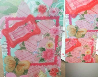 Pink, handmade, card, someone special, yellow, butterflies, flowers, blank inside, any occasion, ktgscards, frame, 3d, green, cards,