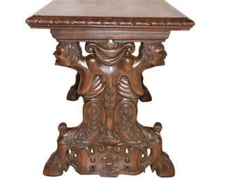 Wonderful Antique French Gothic Coffee Table In Walnut Circa 1920 Carved Demons Satyr  Centaur #7348