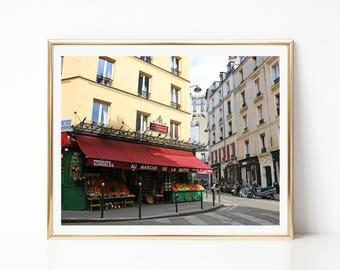 Amélie Fruit Market Print. Montmartre Paris Photo. French Wall Art. Paris Street Scene. Au Marche de la Butte. Paris Home Decor.