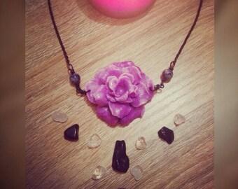 Tridacna carved flower w/ lapis lazuli beads bib style necklace
