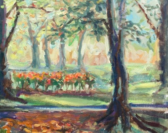 Impressionist landscape painting, original oil on canvas, early autumn at park, orange roses in bloom, 16x20in