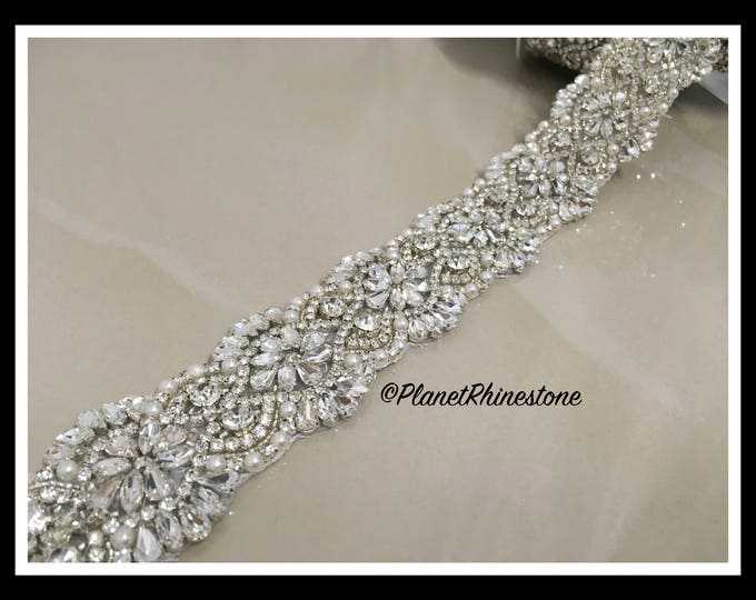 Bridal sash , Bridal belt , Wedding sash sash - crystal and rhinestone beaded applique sash, beaded pearl (Swarovski Shine) #T-12