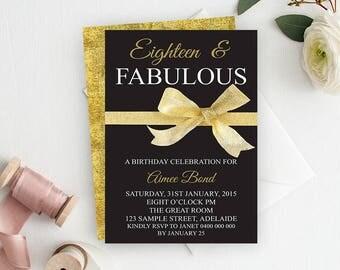 18th Birthday Invitation, 18th Birthday Party Invitation, Milestone Birthday, Printable Invitation, Teen Invitation, Black and Gold Glitter