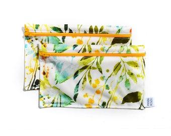 Sacs à collation réutilisables - botanique - Reusable snack bags - 2 snack bags - botanic
