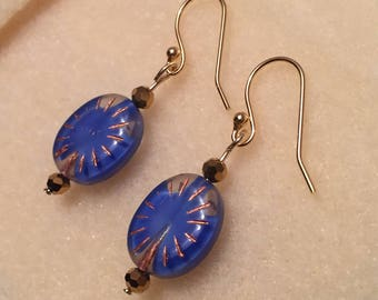 Cobalt blue and gold earrings