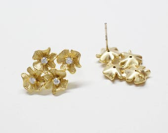 E0232/Anti-Tarnished Matte Gold Plating Over Brass+Sterling Silver 925 Post/4 Flowers  Stud Earrings/14 x22mm/2pcs