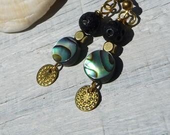 black lava dangle earrings, seashell abalone, iridescent, elegant  brass earrings, mother gift, gift for her, classy, abalone, iridescent