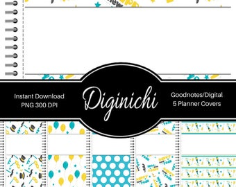 Happy New Year - Teal - Digital Covers for Goodnotes Digital Planners and Journals - PNG & Printable
