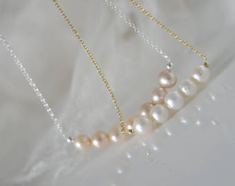 Pearl Necklace 925 Silver or gold plated freshwater pearl apricot color pearl necklace 925 silver or gilded freshwater pearls