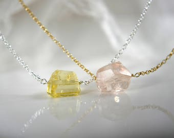 8ct Gold Chain Morganite Aquamarine Beryll Heliodor