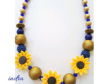 Sunflower necklace, beaded sunflower necklace, colbat blue necklace, flower necklace, sunflower jewelry, colbat blue jewelry, sunflowers