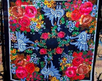 Vintage Russian Silk Shawl. Silk Babushka Shawl. Boho Style Shawl. Crepe-de-Chine Scarf with Fringe. Floral Shawl.