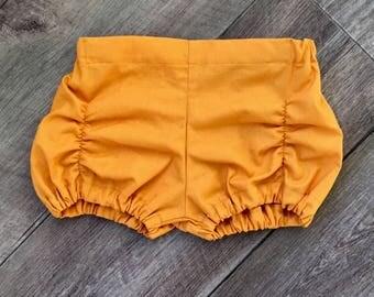 Pucker Shorts / ruched shorts / mustard shorts / girls shorts / toddler shorts